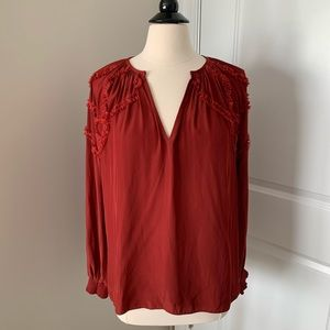 Red silk blouse, size small petite